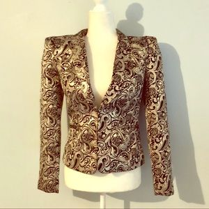 Nasty Gal Peak Shoulder Brocade Blazer